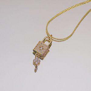 NEW 14K Gold Plated Diamond Lock Key Necklace
